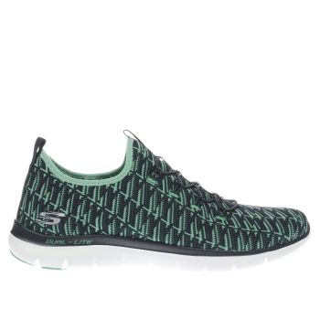 SKECHERS NAVY & GREEN FLEX APPEAL 2-0 INSIGHTS TRAINERS