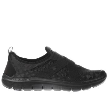 SKECHERS BLACK FLEX APPEAL 2.0 NEW IMAGE TRAINERS