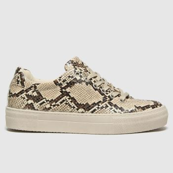 schuh Beige & Brown Mae Snake Lace Up Womens Trainers