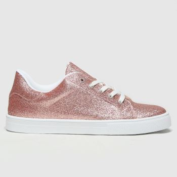 schuh Pink Martha Glitter Lace Up Womens Trainers