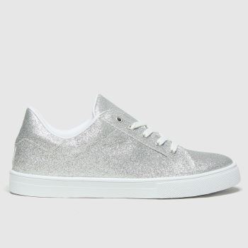 schuh Silver Martha Glitter Lace Up Womens Trainers