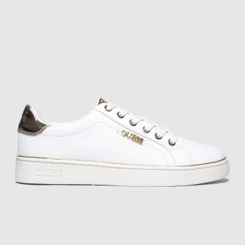 Guess White & Gold Beckie c2namevalue::Womens Trainers
