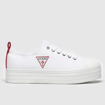 Guess White & Red Brigs Platform Womens Trainers
