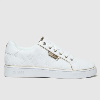 GUESS White Banq Womens Trainers#