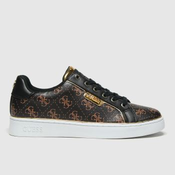 GUESS Brown & Black Banq Womens Trainers#