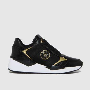 GUESS Black & Gold Tesha Womens Trainers