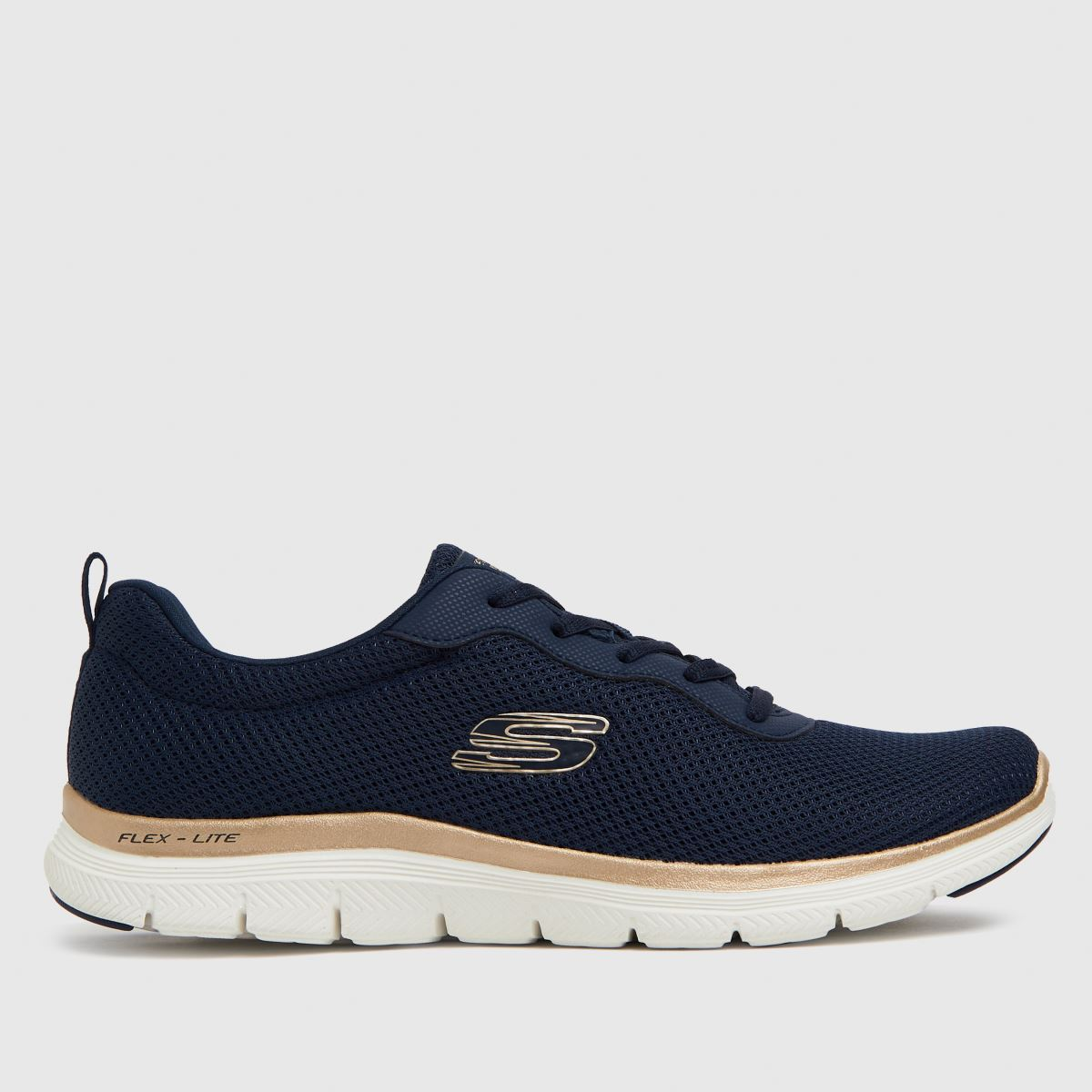 SKECHERS Navy & Gold Flex Appeal 4.0 Trainers
