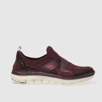 SKECHERS BURGUNDY FLEX APPEAL 2.0 BRIGHT EYED TRAINERS