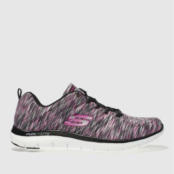 Skechers Black & pink Flex Appeal 2.0 Reflections Womens Trainers