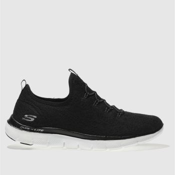 SKECHERS BLACK & WHITE FLEX APPEAL 2.0 CLEAR CUT TRAINERS