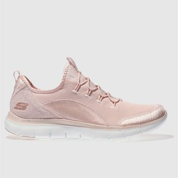 Skechers Pale Pink Flex Appeal 2.0 Mixed Media Womens Trainers
