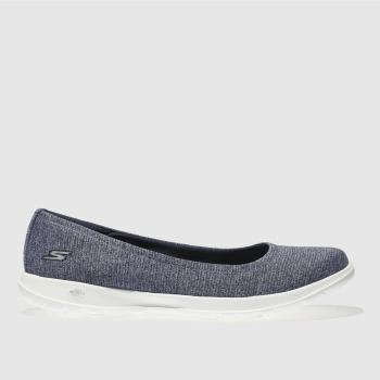 Skechers Navy & White GO WALK LITE ENAMORED Trainers