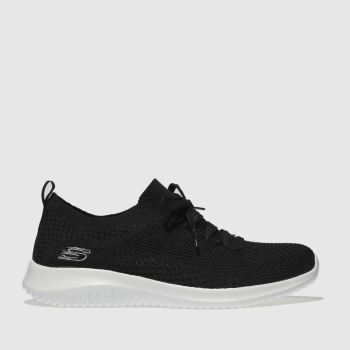 SKECHERS Black & White Ultra Flex Statements Womens Trainers
