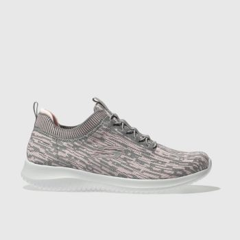 Skechers Grey Ultra Flex Bright Horizon Womens Trainers