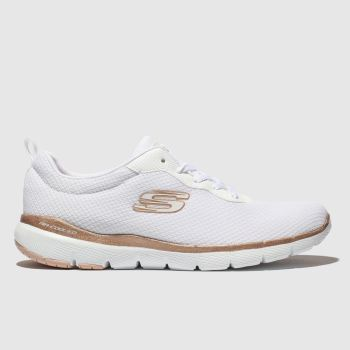 Skechers White & Gold FLEX APPEAL 3.0 Trainers