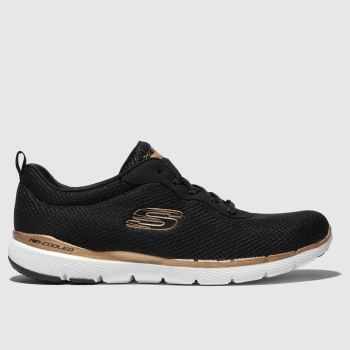 SKECHERS Black & Bronze Flex Appeal 3.0 Trainers