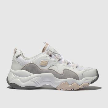 skechers white & pink dlites 3 trainers