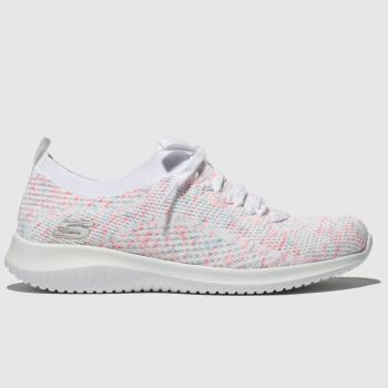 Skechers White & Pink Ultra Flex Happy Days Womens Trainers