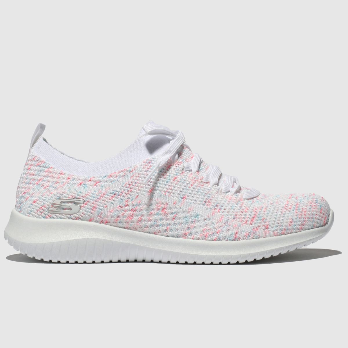 Skechers White & Pink Ultra Flex Happy Days Trainers