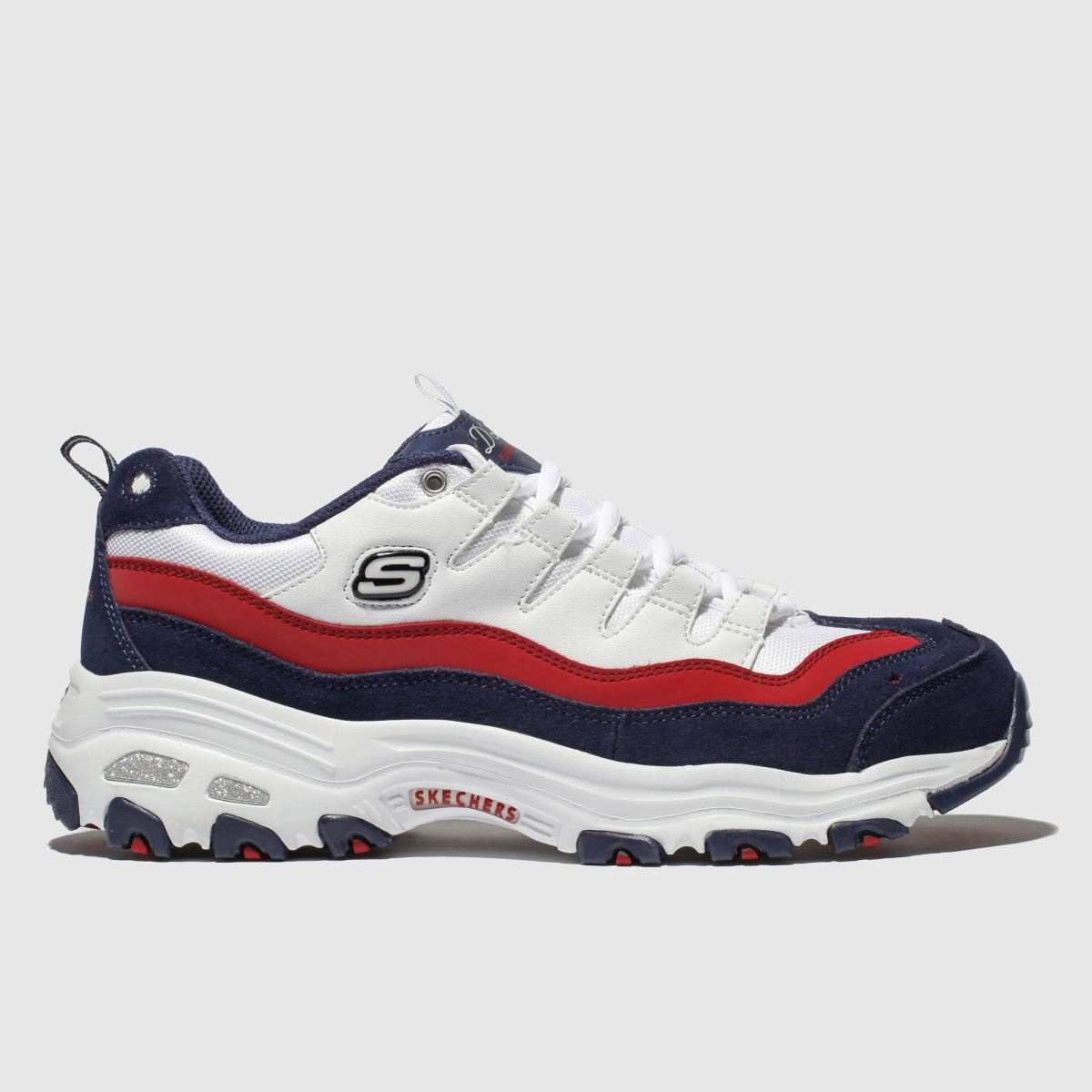 Skechers White & Navy Dlites Sure Thing Trainers