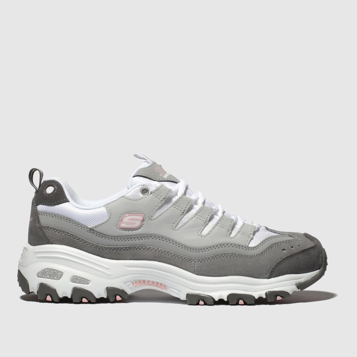 Skechers White & Grey Dlites Sure Thing Trainers