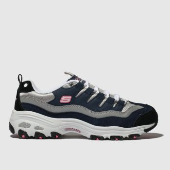 Skechers Navy & White Dlites Sure Thing c2namevalue::Womens Trainers