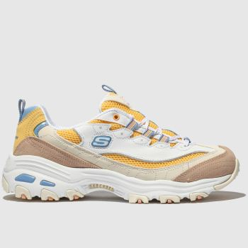 Skechers White & Yellow Dlites Second Chance Womens Trainers