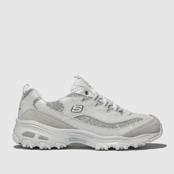 Skechers White & Silver Dlites Glimmer Eve Womens Trainers