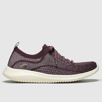 Skechers Burgundy Ultra Flex Silver Surfing Womens Trainers