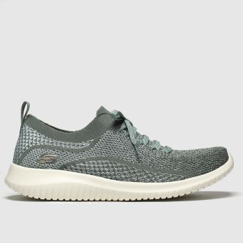 Skechers Green Ultra Flex Silver Surfing Womens Trainers