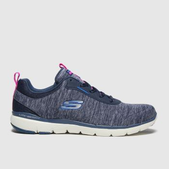 SKECHERS Grey & Navy Flex Appeal 3.0 Womens Trainers