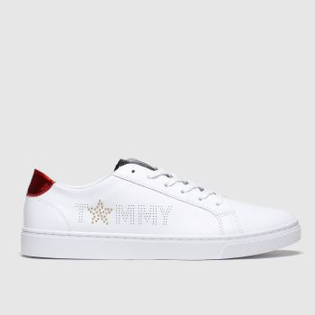 Tommy Hilfiger White Star Metallic Sneaker Womens Trainers