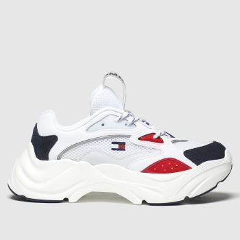 Tommy Hilfiger White Fashion Chunky Runner Womens Trainers#