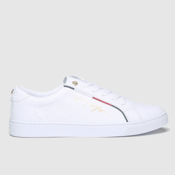 Tommy Hilfiger White Signature Sneaker c2namevalue::Womens Trainers