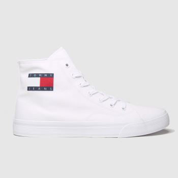 Tommy Hilfiger White Tj Mid Cut Lace Up Vulc Womens Trainers