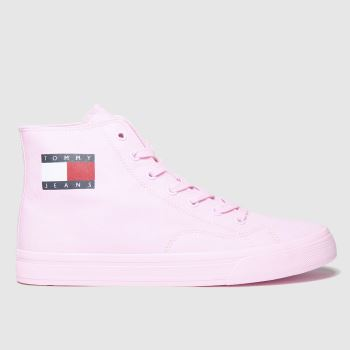 Tommy Hilfiger Pale Pink Tj Mid Cut Lace Up Vulc c2namevalue::Womens Trainers