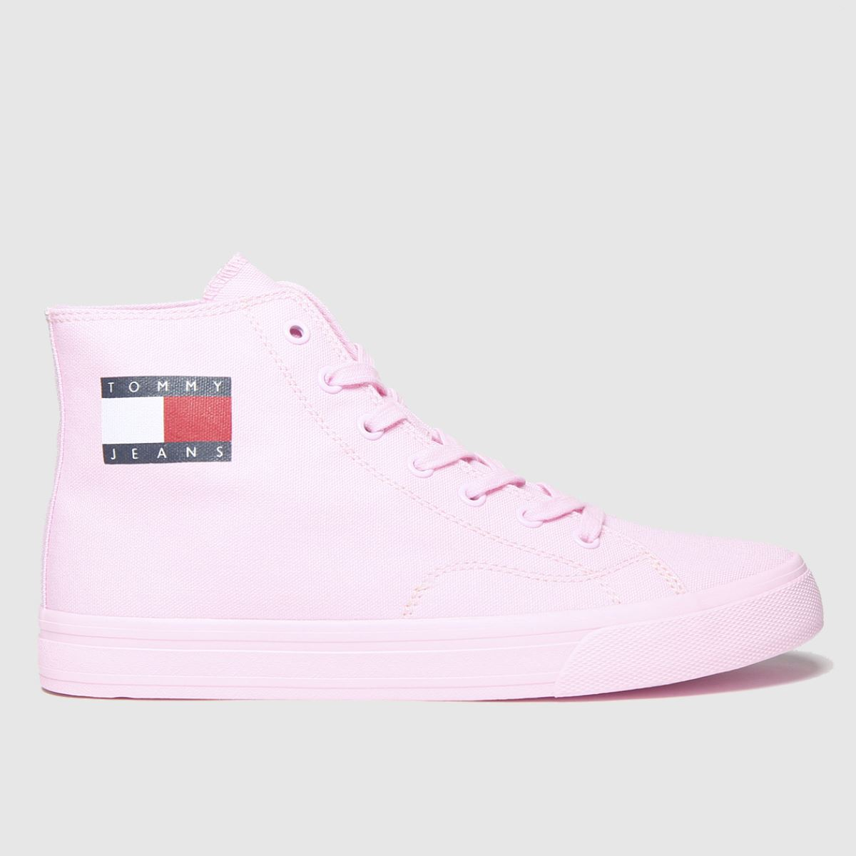 Tommy Hilfiger Pale Pink Tj Mid Cut Lace Up Vulc Trainers