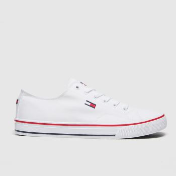 Tommy Hilfiger White Long Lace Up Sneaker Womens Trainers#