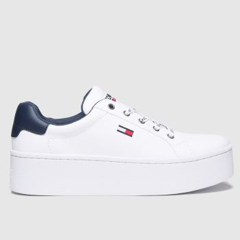 Tommy Hilfiger White Iconic Flatform Sneaker Womens Trainers#