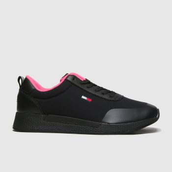 Tommy Hilfiger Black Mix Material Flexi Sneaker Womens Trainers