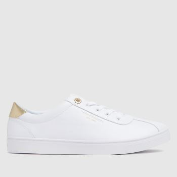 Tommy Hilfiger White & Gold Court Womens Trainers