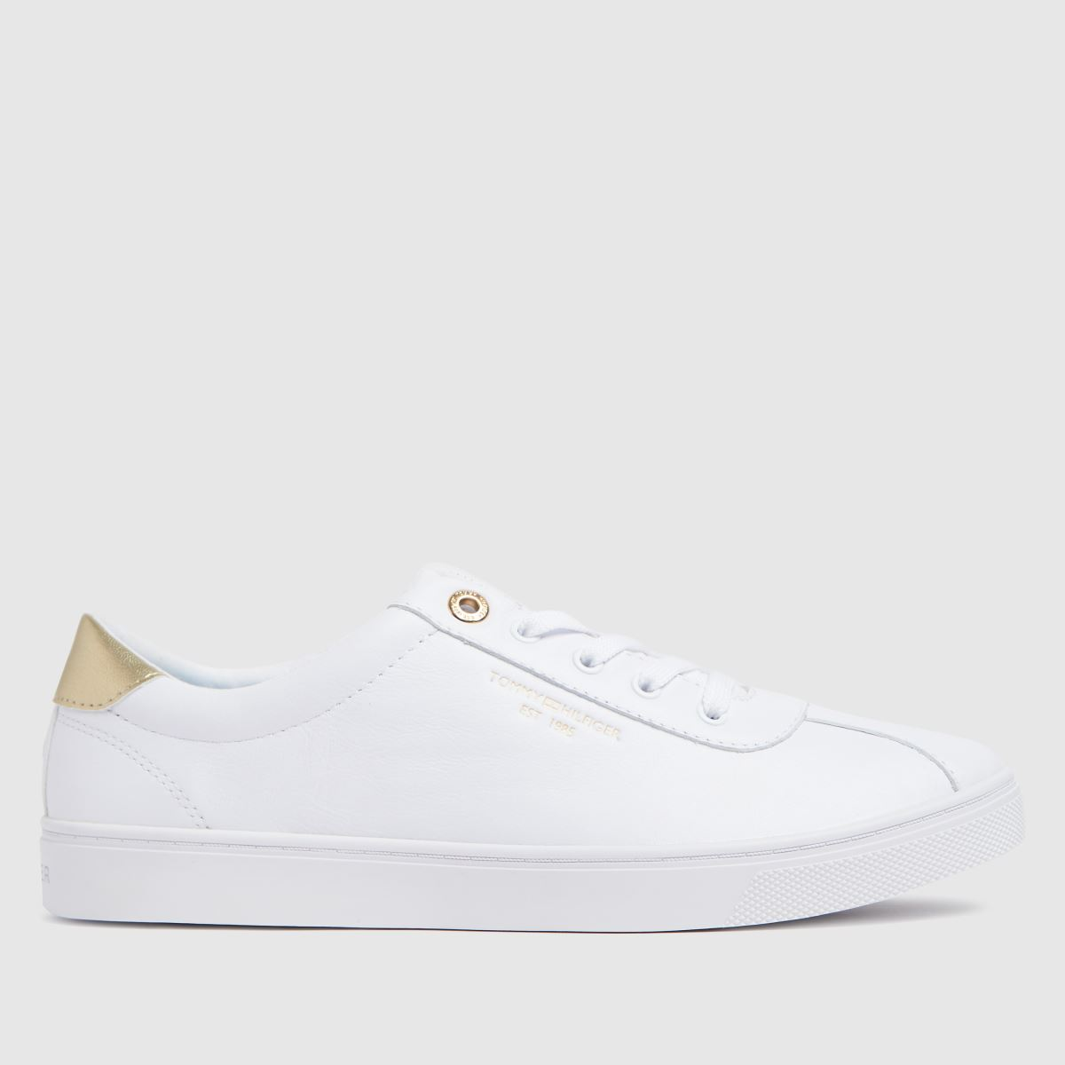 Tommy Hilfiger White & Gold Court Trainers