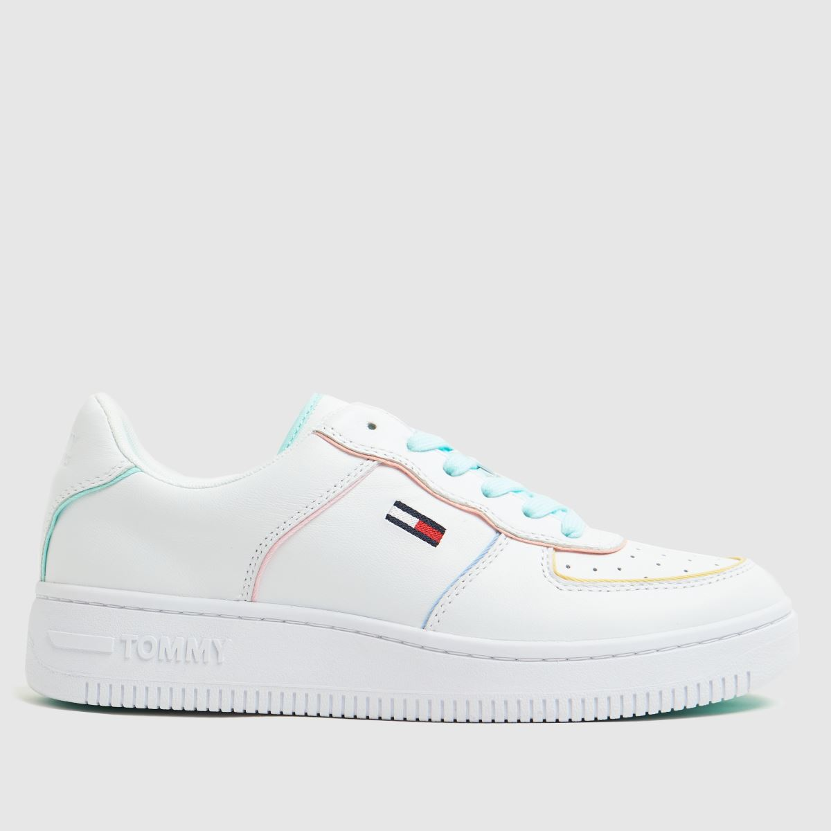Tommy Hilfiger White & Pl Blue Abo Pastel Trainers