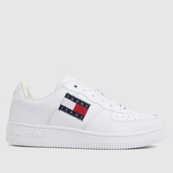 Tommy Hilfiger White & Red Low Cut Flag Basket Sneaker Womens Trainers