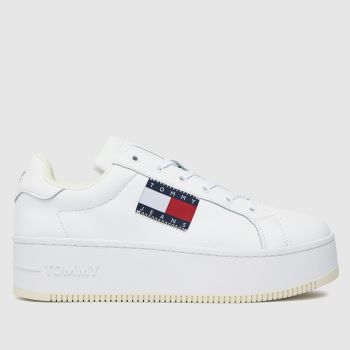 Tommy Hilfiger White Flatform Flag Sneaker Womens Trainers