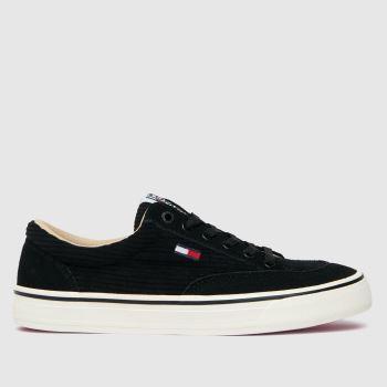 Tommy Hilfiger Black Corduroy Skate Sneaker Womens Trainers