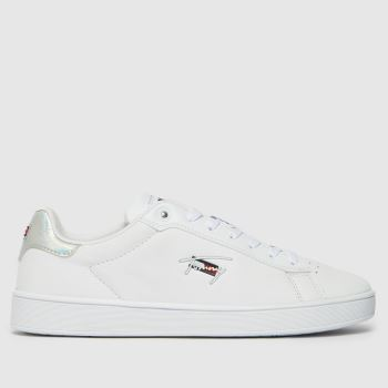 Tommy Hilfiger White & Silver Iridescent Cupsole Womens Trainers