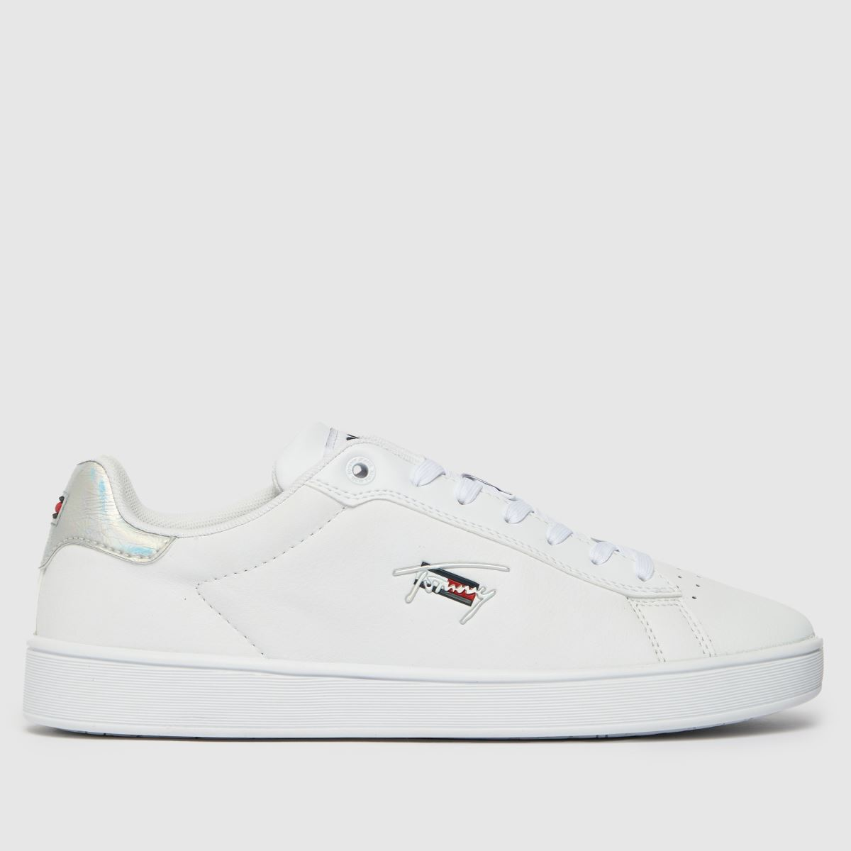Tommy Hilfiger White & Silver Iridescent Cupsole Trainers
