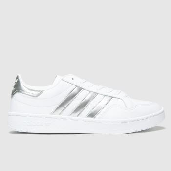adidas White & Silver Team Court Womens Trainers