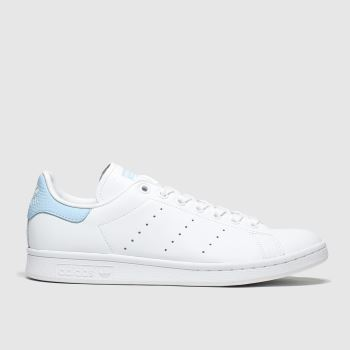Adidas White & Pl Blue Stan Smith Womens Trainers